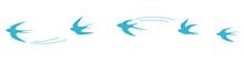 Set Of Flying Blue Birds Vecto...