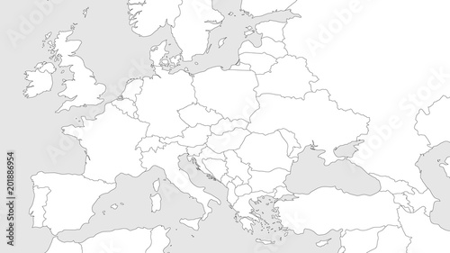 Black Map Of Europe.Blank Outline Map Of Europe With Caucasian Region Simplified