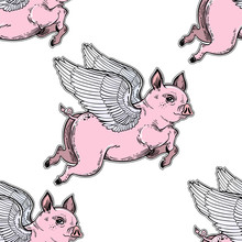 Flying Winged Pig Seamless Pat...