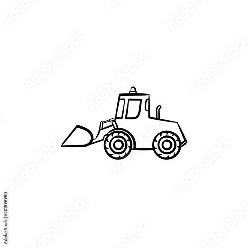 Excavator With Moving Backhoe Hand Drawn Outline Doodle Icon Buldozer Vector Sketch Illustration For Print