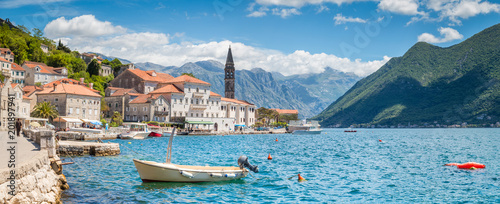 Poster Bleke violet Historic town of Perast at Bay of Kotor in summer, Montenegro