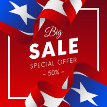 Big Sale Banner Or Sticker. Special Offer. Fifty Percent Off. Puerto Rico Flag. Vector Illustration.