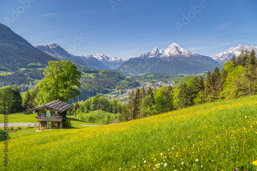 Papiers peints Pays d Afrique Idyllic mountain scenery with traditional mountain chalet in the Alps in summer