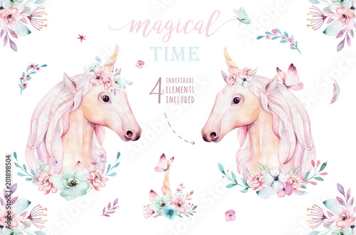 Fotografie, Obraz Isolated cute watercolor unicorn clipart with flowers