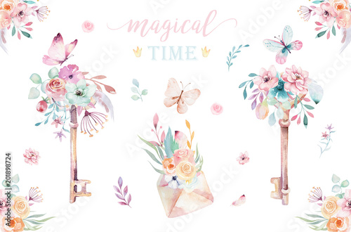 Obraz na plátně  Isolated cute watercolor unicorn keys clipart with flowers