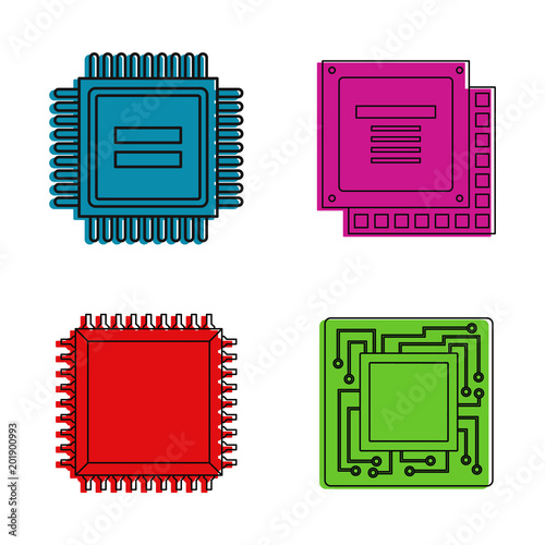 cpu icon set color outline set of cpu vector icons for web design isolated on white background buy this stock vector and explore similar vectors at adobe stock adobe stock adobe stock