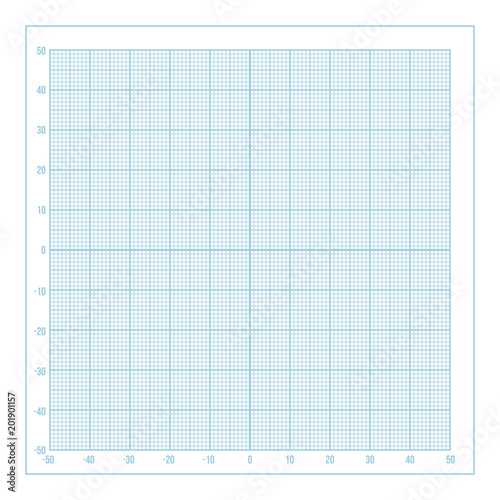 vector blue metric graph paper with coordinate axis 1mm grid
