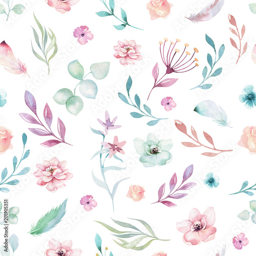 Obraz na plátně  Cute watercolor unicorn seamless pattern with flowers