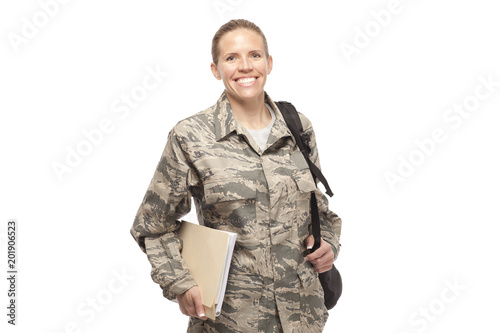 Happy female airman with books and bags Wallpaper Mural