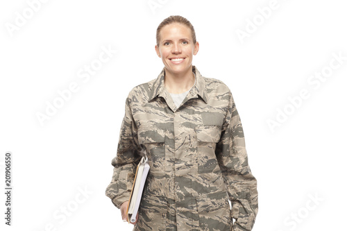 Female airman with books Canvas Print