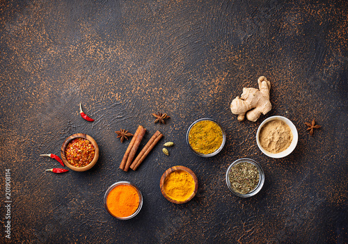 Traditional Indian spices on rusty background Canvas Print