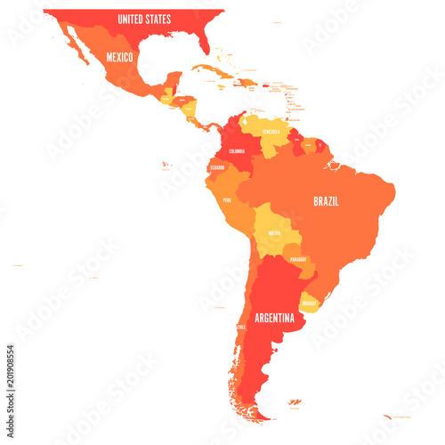 Mapa Ameryki Łacińskiej. Ilustracja wektorowa w odcieniach pomarańczy.