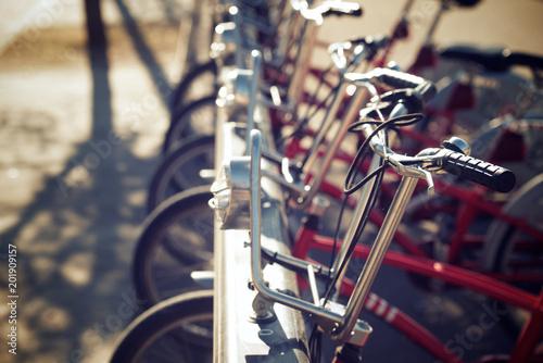 Deurstickers Fiets Rental bicycles view