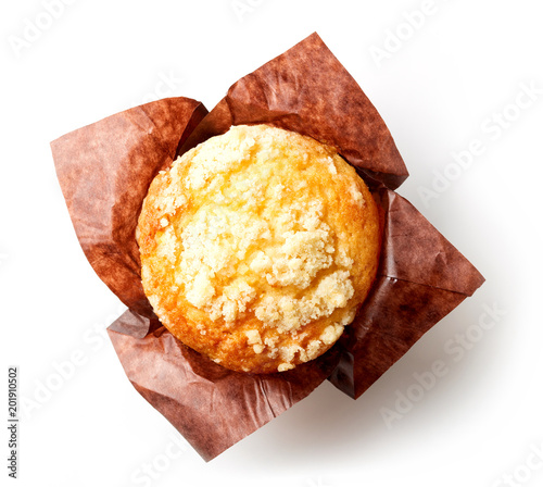 Fotografie, Obraz Blueberry muffin isolated on white, from above