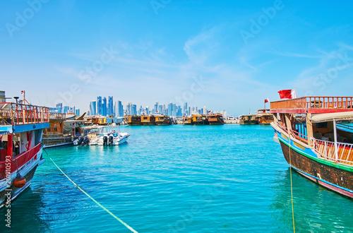 Fototapeta Old boats in Doha harbor, Qatar obraz na płótnie
