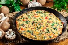 Frittata Made Of Eggs, Mushroo...