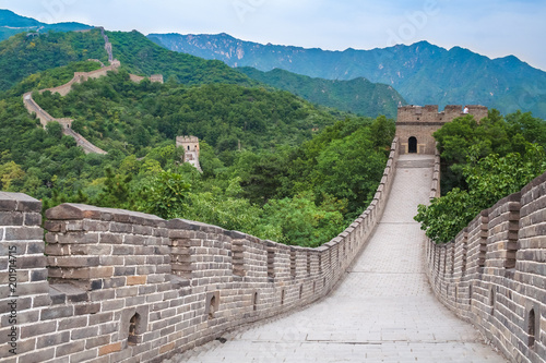 Poster China Famous landmark great wall and mountains. China