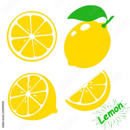 Icon lemon. Set fresh lemon fruits and slice. Isolated on white background. Vector