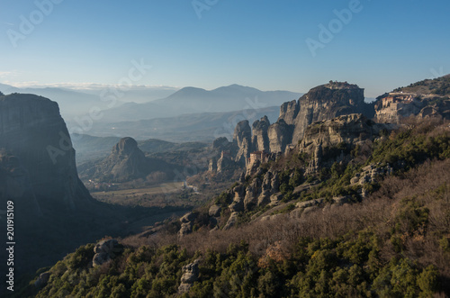 Tuinposter Blauwe jeans Landscape with monasteries and rock formations in Meteora, Greece.