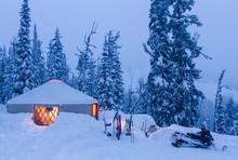 Backcountry Ski Yurt At Dusk