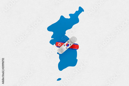 Fotografie, Obraz  Illustration of unification flag for peace between North and South Korea