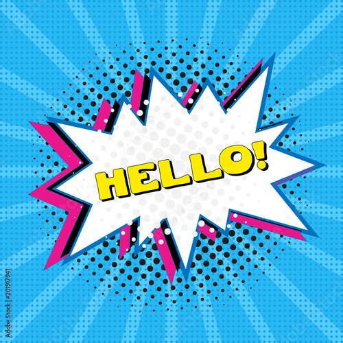 Comic speech bubble with text Hello, sound effect cloud of
