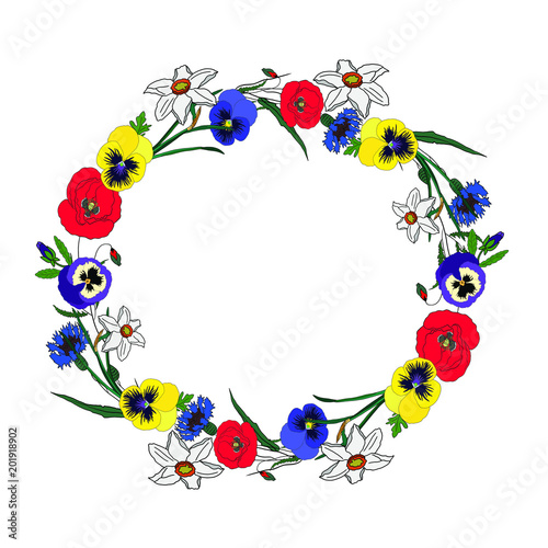 Hand drawn vector illustration summer wreath with poppy, pansies, narcissus and cornflower