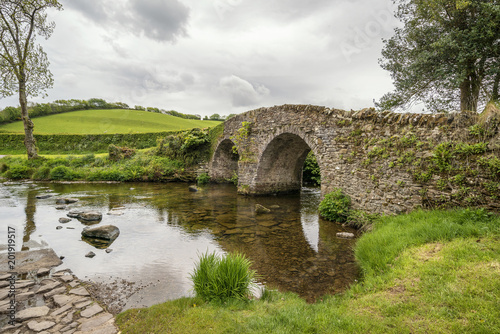 Montage in der Fensternische Brücken Beautiful Lorna Doone Bridge in Exmoor in Devon landscape Summer image
