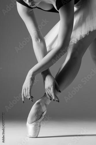 Fotografie, Obraz  Young beautiful ballerina is posing in studio