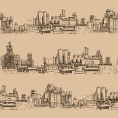 Chemical plant, the production of polymers, hand-drawn sketch vector
