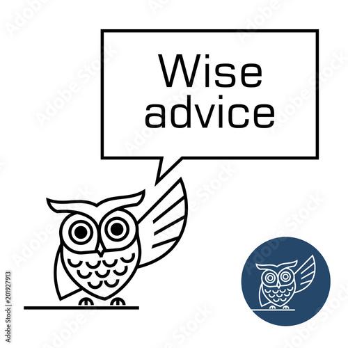 Fotografie, Obraz  Owl with speech bubble line style illustration.