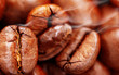 Coffee background with beans close up, Coffee roasting