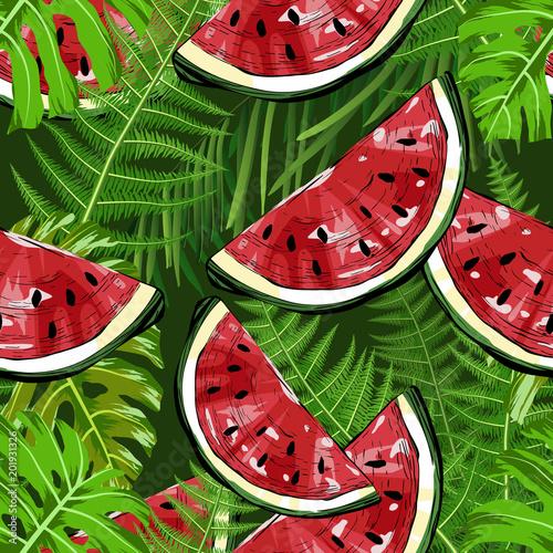 bezszwowy-wzor-z-arbuzami-i-tropikalnymi-roslinami