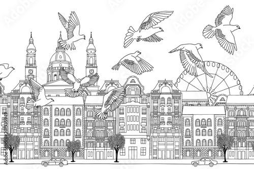 ptaki-nad-budapeszt-recznie-rysowane-czarno-bialy-ilustracja-miasta-z-stada