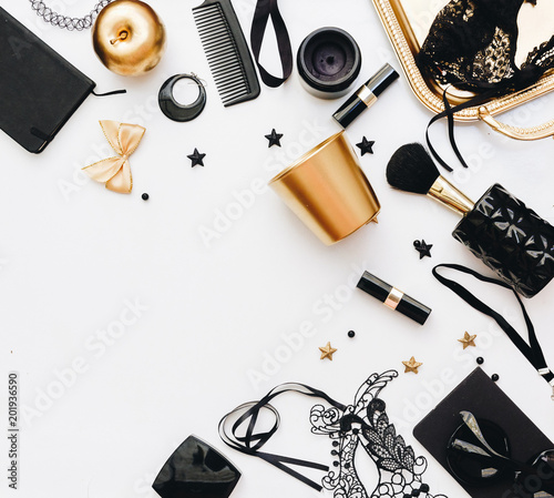 Flat lay woman accessories. Beauty concept