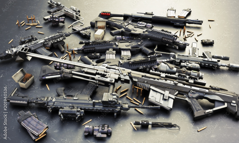 Fototapeta Weapons stash with automatic assault rifles and accessories,shotgun and sniper rifle. Consisting of bullet rounds, magazines , front and rear sites , and a laser guided rifle scope. 3d rendering