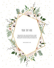 Card With Leaves And Geometrical Frame. Floral Poster.