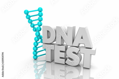 DNA Test Heredity Ancestry Genetic Word 3d Illustration Wallpaper Mural