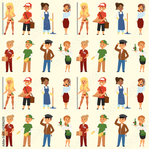 people part time job professions vector set characters temporary job