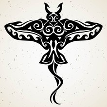 Tribal Tattoo With Decorative Sea Stingray With Ethnic Pattern. Authentic Artwork With A Symbol Of The Totem. Stock Vector Graphics Clipart Tattoos Like Maui From Moana Cartoon.