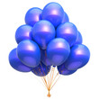 canvas print picture Balloon blue decoration party birthday helium balloons bunch. Happy holiday anniversary celebration greeting card design element. 3d illustration isolated