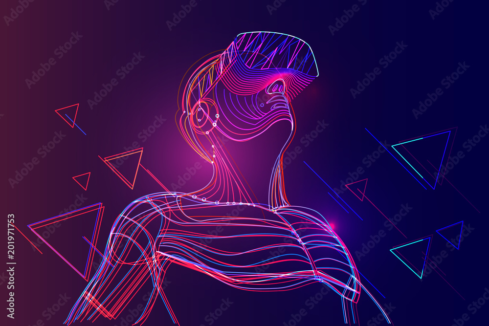 Fototapeta Man wearing virtual reality headset. Abstract vr world with neon lines. Vector illustration