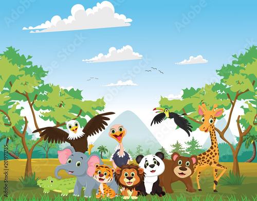 Printed kitchen splashbacks Cats illustration of happy animal in the jungle