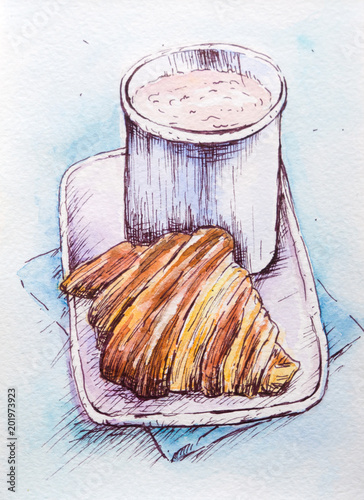 croissant-z-filizanka-kakao-akwarela
