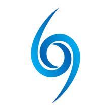 Blue Number 69 Logo Vector