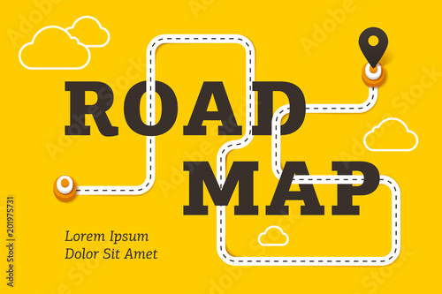 Road map business concept with winding road and pin pointer on yellow background. Minimalistic business infographics, process direction, timeline diagram, digital marketing vector illustration.