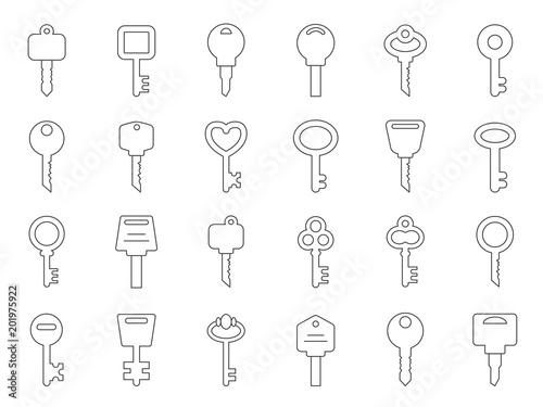 Valokuva  Mono line illustrations of keys for doors