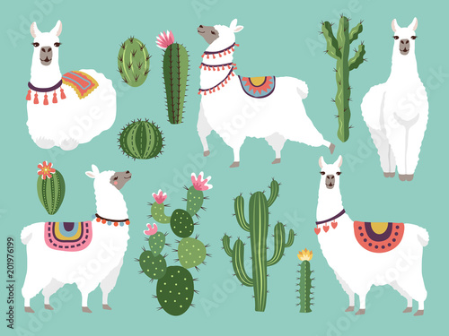 Illustrations of funny llama. Vector animal in flat style Wallpaper Mural