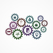 Vector collection of flat business icons, gears.
