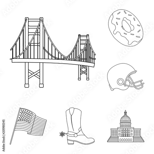 Foto op Canvas Doodle USA country outline icons in set collection for design.Travel and attractions vector symbol stock web illustration.